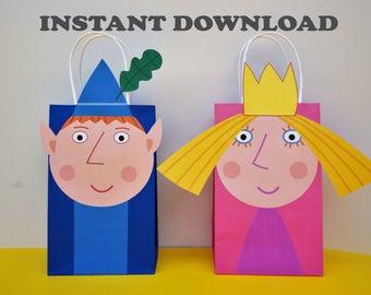 Ben & Holly DIY treat bags printables/ Ben and Holly Birthday Party/ Ben and Holly Party/ Ben and Holly Favor Bags/ Goodie Bags/ Goody Bags