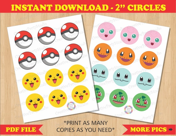 graphic relating to Printable Pokemon called Pokemon Cupcake Toppers/ Pokemon Stickers/ Pokemon Labels