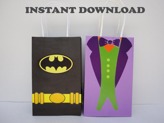 Batman Joker Party Favor Bags Birthday Favors Goodie