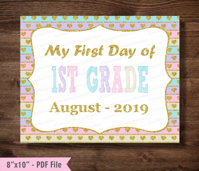 picture relating to First Day of 1st Grade Printable Sign named Initial Working day of 1st Quality Signal/ 1st working day of 1st Quality indicator/ photograph prop/ Initial Quality signal/ printable/ Back again toward Faculty 1st Quality indicator female/ purple