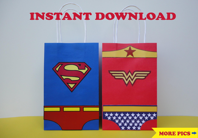Wonder Woman & Superman Favor Bags/ Wonder Woman Birthday | Etsy