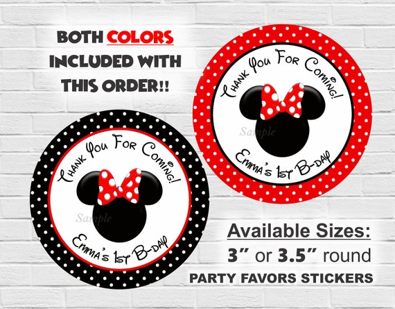 Minnie Mouse Party Favor Labels Stickers Minnie Mouse Birthday