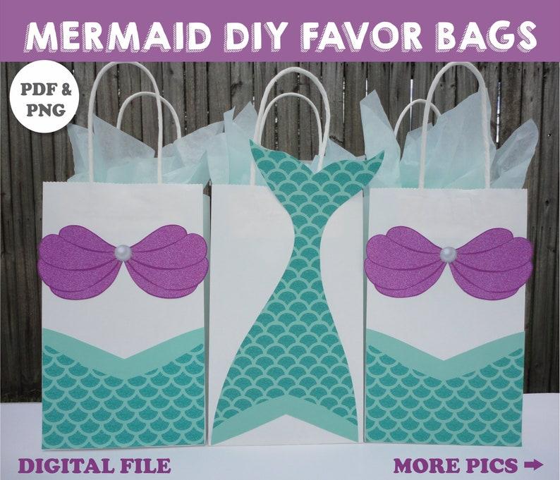 504e9301f5d Mermaid FAVOR BAGS/ Mermaid Party Bags/ Mermaid Birthday/ | Etsy