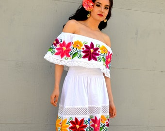 9f8f025f37a Mexican White Wedding Dress Multicolor Embroidered Off Shoulders