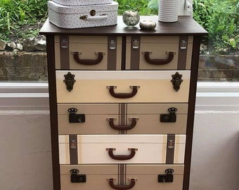 Chest of drawer, suitcase look in chalk paint