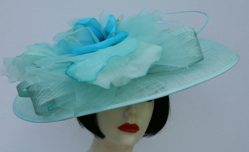 dd6492678ce72 Aqua Blue Large Fascinator, Kentucky Derby, Wedding