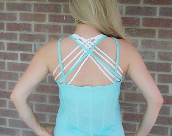 SALE!! BEST SELLER!! Mint Green Crossback Mesh Tank