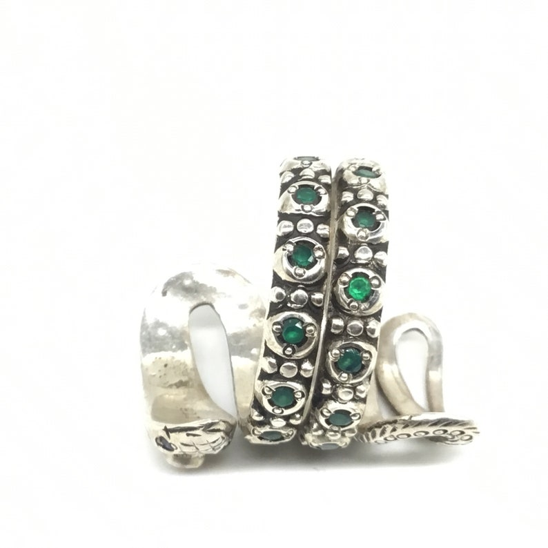 Ruby and emerald Snake Ring in sterling silver Party wear Gift for her Statement peice.