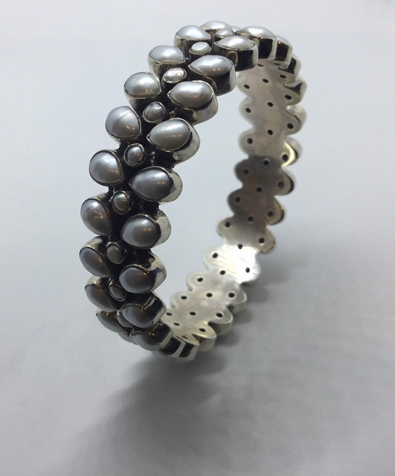 Sterling silver Bangle with Pearl  Party wear Gift for her Traditional wear
