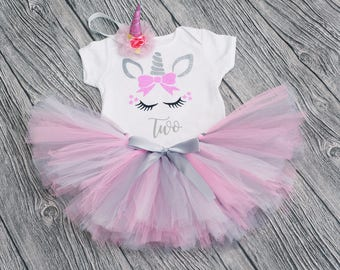 Unicorn Second Birthday Tutu Outfit Cake Smash 2nd Two Party