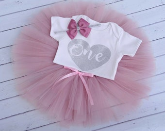 c4eb93dc15b6f8 Dusty Pink Tutu Cake Smash First 1st Birthday Baby Girls Outfit 1st  Birthday Girl Outfit Heart
