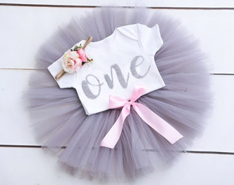 Baby Tutu First 1st Birthday Outfit Grey Personalised Silver Glitter One Bow Headband Photo Prop Cake Smash