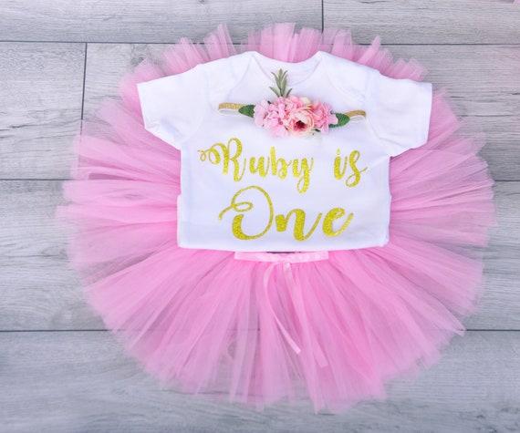 Baby Girl First 1st Birthday Party robe Gâteau Smash Photo Shoot Tutu Tiara