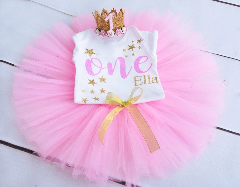 Girls Birthday Star Birthday First Birthday Outfit Twinkle Little Star Outfit 1st Birthday Tutu Personalized Smash Cake Outfit