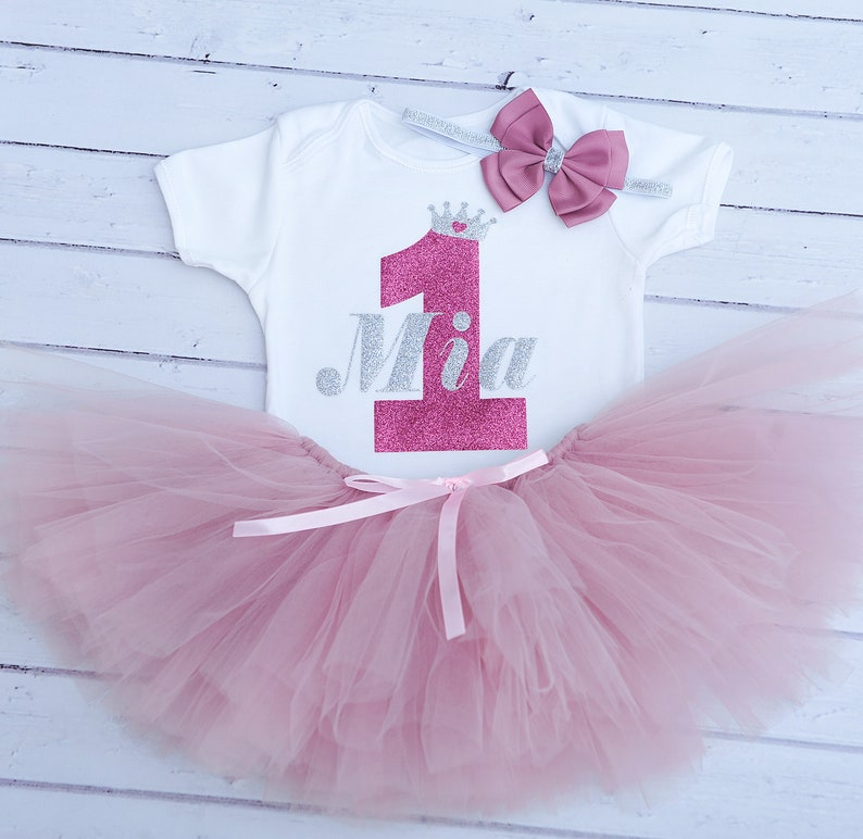 37ff86340 Personalised First Birthday Outfit Pink and Silver Birhday | Etsy