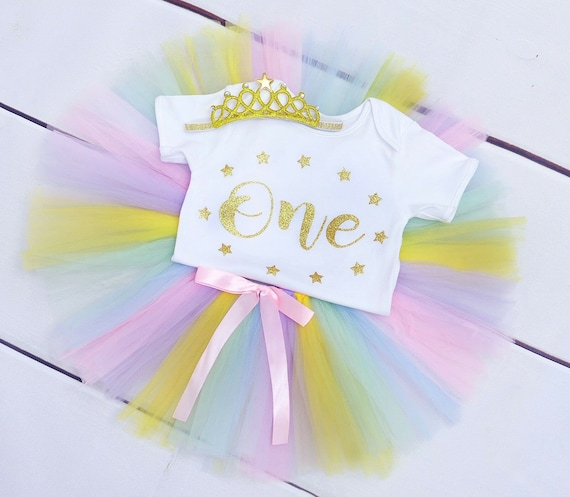 Baby Girls 1st Birthday Outfit Dress Tutu Skirt Cake Smash Photo shoot Rainbow