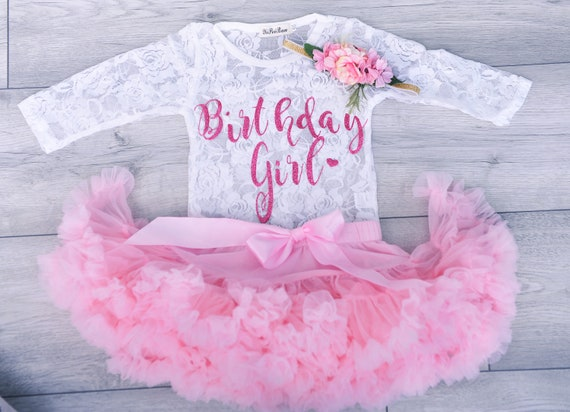 Boutique Girls Frilly Tutu Bloomer Knickers And Bow Clip Christening Cake Smash 1st Birthday Outfit Set