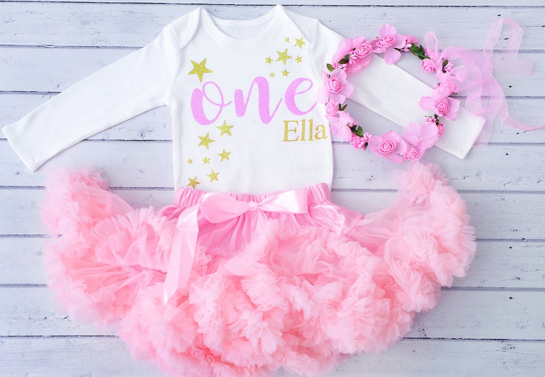 88375fb08 Personalised Pink   Gold First Birthday Tutu Outfit Glitter
