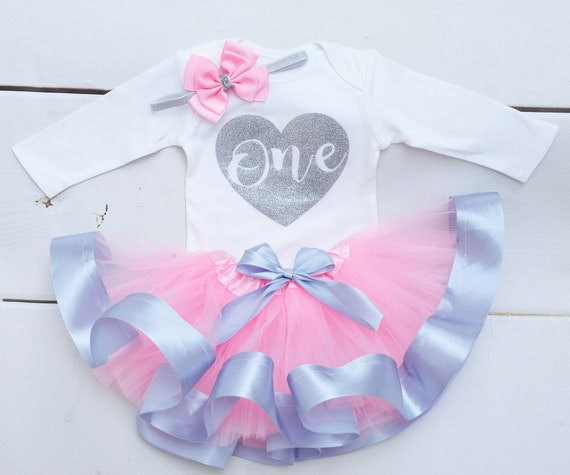 Baby Girls First 1st Birthday Outfit Pink Tutu Skirt Top /& Headband Cake Smash
