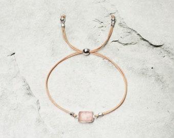 "Gemstone Bracelet ""SHIVA"" with Rose Quartz Stone frame 925/SterlingSilver Cube Beads 999/Silver Gift idea for birthday"