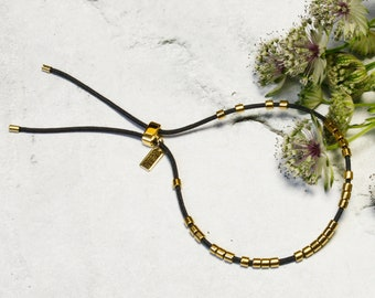 "Filigree Bracelet ""TAMANI"" | Miyuki Glass Beads 24 Carat Gold Plated | String in 100% silk | Tension closure variable 925/silver gold plated"