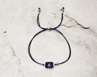 "Gemstone Bracelet ""SHIVA"" with Lapis Lazuli | Stone Frame 925/SterlingSilver | Cube Beads 999/Silver | Gift idea for birthday"