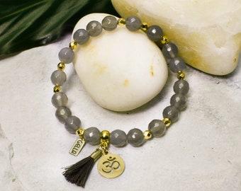 "ACHAT | Gemstone bracelet ""REENA"" | Beads of real agate grey | Charm Lotus - OM - Sun 24 carat gold-plated | Heilstein | Yoga Jewelry"