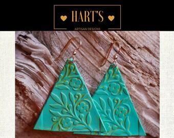 14K Gold Turquoise Leather Earrings Boho