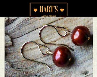 14K Gold Copper Pearl Earrings