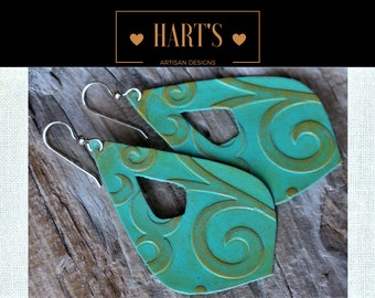 14K Gold Turquoise Leather Earrings