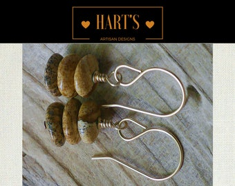 Picture Jasper 14K Gold Earrings