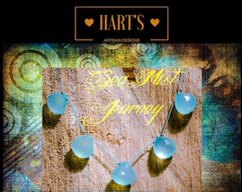 Sea Mist Journey Chalcedony Teardrop Gemstones & Argentium Silver Necklace Silk Knotted Tin Cup Style