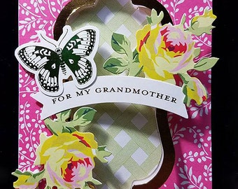 Handmade Flip Greeting Card - For Grandmother