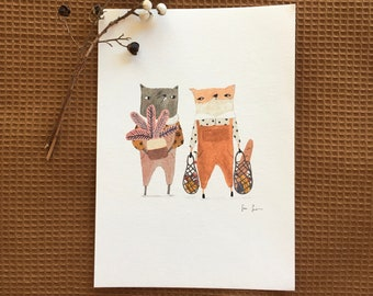 Wolf and Fox grocery shopping art print, home decor, wall art, watercolour illustration print