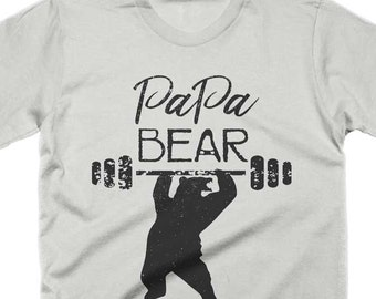 Papa Bear T Shirt Funny Papa T-shirt New Dad Shirt Workout Fitness T-Shirt Vintage Tees Gifts For Dad For Him Husband Shirt Fathers Day Tee