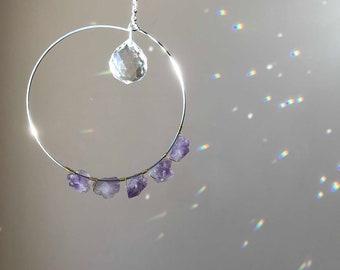 Car Prism Housewarming Gift Crystal Sun Catcher with Amethyst Raw Stone