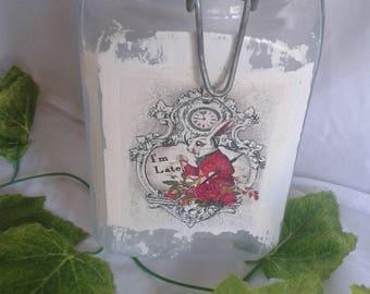 Alice in wonderland kiln jar white rabbit
