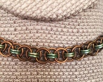 Green and Copper Chain Maille Necklace