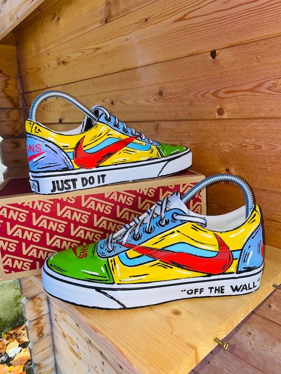 Cartoon Vans Nike Custom Shoes Hand
