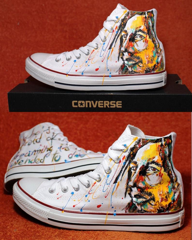 8930416696a310 Converse Bob Marley Custom Converse Hand Painted