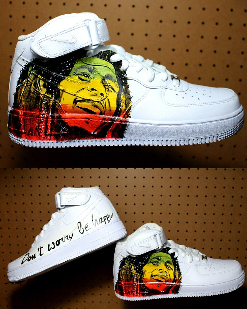 02709e7f88 Bob Marley shoes NIKE air force Hand painted | Etsy