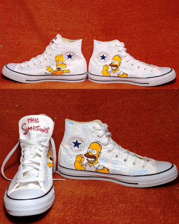 Simpsons Shoes Custom Converse Håndmalt  Custom Converse Hand Painted