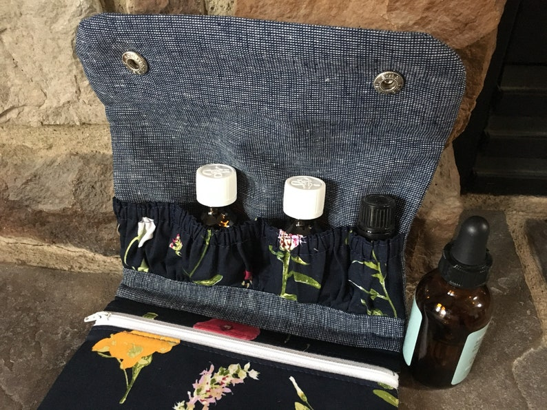 Manicure Pouch First Aid Kit fold over zipper pouch essential oils pouch
