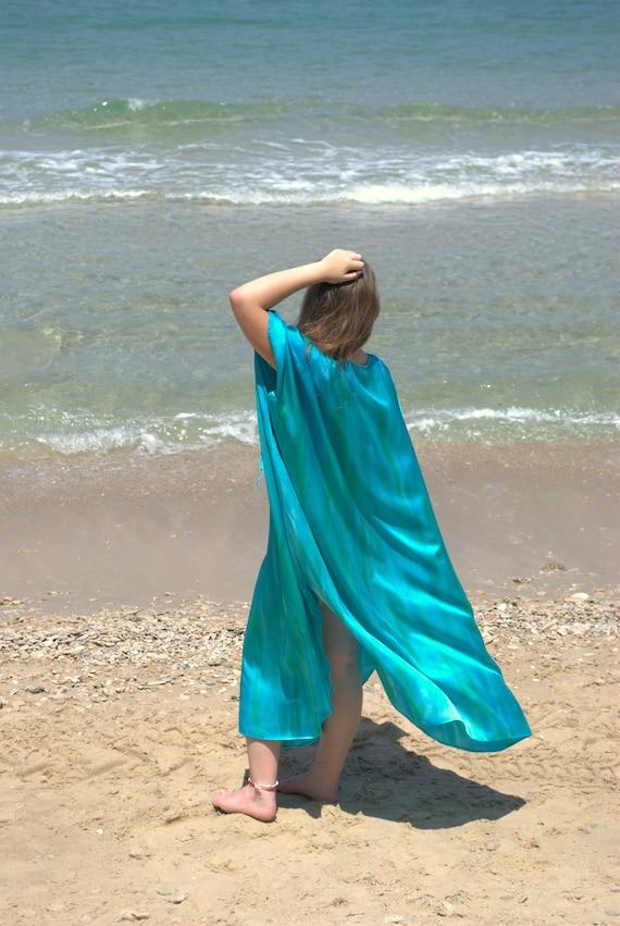 tunic fashion Kaftan ship summer ready Caftan MATERNITY to Summer Oversize dress Dyed Outdoors Maxi Silk Long gift Silk Dress Hand DRESS 6fgPqx6