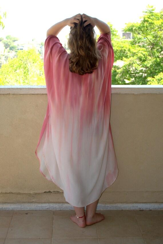 Maxi Gift Silk Kaftan summer tunic Pure Dress wrapp Silk Oversize Hand dress Dress ship Long Ready Pure to Caftan Dyed Unique Maxi aqZF7R4ww