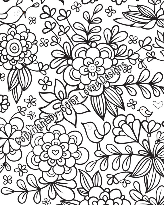 - Flower Coloring Pages Printable: Beautiful Of Flowers To Etsy