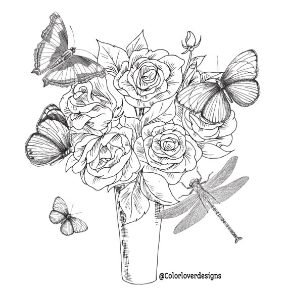 - Printable Coloring Page Flowers Stress Relieving Patterns Etsy