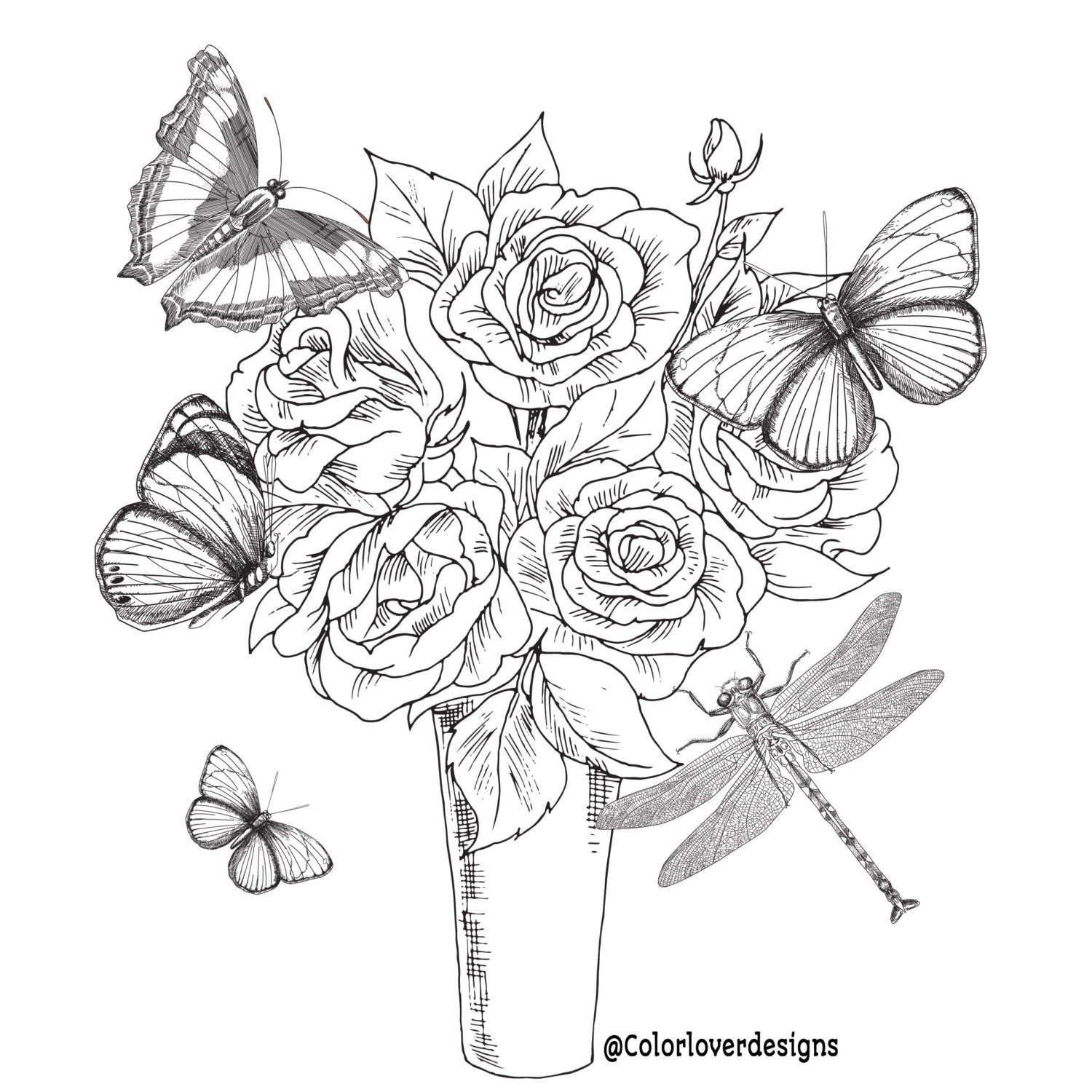 Printable Coloring Page Flowers Stress Relieving Patterns Etsy