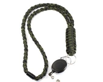 Green Paracord Lanyard - Paracord Badge Reel - ID Badge Holder - Breakaway Lanyard - Teacher Lanyard - Neck Lanyard - Breakaway Clasp