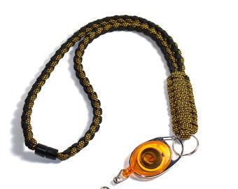 Yellow Paracord Lanyard - Paracord Badge Reel - ID Badge Holder - Breakaway Lanyard - Teacher Lanyard - Neck Lanyard - Breakaway Clasp